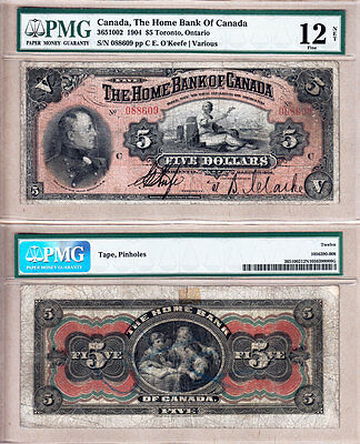 Scarce 1904 $5 Home Bank of Canada issued note. PMG Fine 12.
