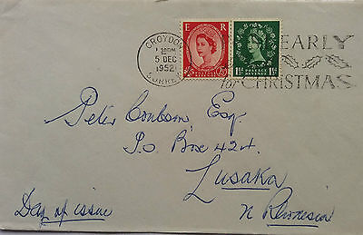 Great Britain 1952 Croydon Cover With 1½D & 2½D Used First Day To Rhodesia