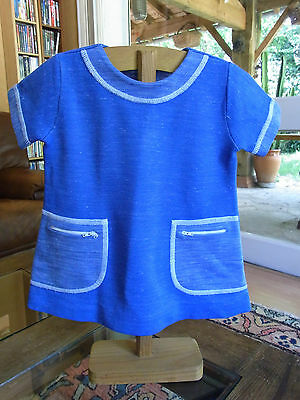 "ROBE FILLE BLEUE ""MELOUKI"" T 2/3 a VINTAGE 60/70 BLUE GIRL DRESS size 2/3 yrs"