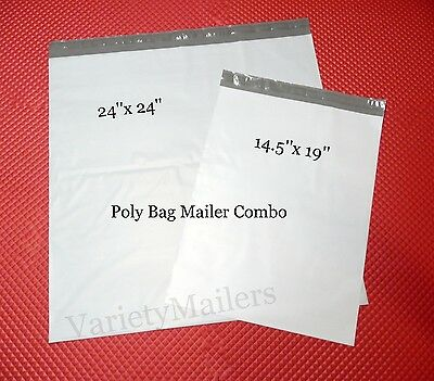 50 Poly Bag Ex-Large Shipping Envelope Combo 24x24 14.5x19 Self-Sealing Mailers