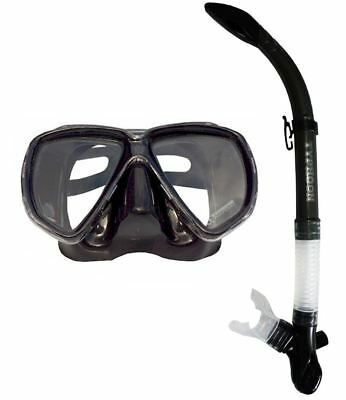 TYPHOON STEALTH BLACK Adult Silicone Mask and Snorkel Set Scuba Dive Snorkelling