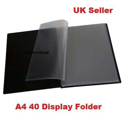 A4 Document Certificate Display Folder With 40 Plastic Transparent Pockets Black