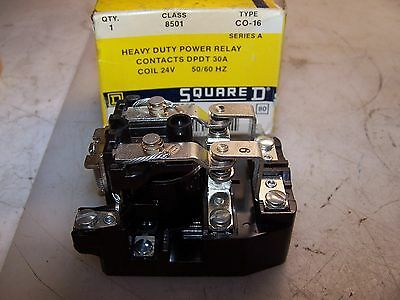 New Square D 30 Amp Dpdt Heavy Duty Power Relay 8501 Co-16 Coil 24 Volt