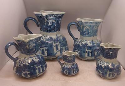 Set of 5 Graduated Size Jugs - Blue & White Pottery - Backstamped IRONSTONE