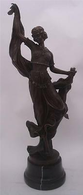 Large Art Deco Bronze Lady Dancer - 59.5cm High - Solid Marble Base