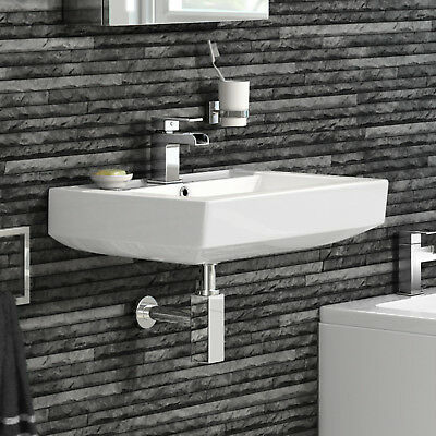 Modern Square White Ceramic Wall Hung Basin Bathroom Sink CA612FB