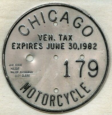 Vintage 1982 Chicago, Illinois Motorcycle License Plate #179