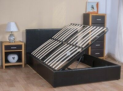 Side Lift Ottoman Storage Bed 4Ft6 Double Clearance 50% Off Half Price Sale