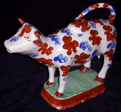 Lovely Early 1800's Hand-Painted Ceramic Cow Creamer