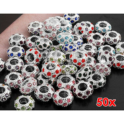 50 Pcs 11x 6mm Strass Metal Beads Spacer Charms New PK