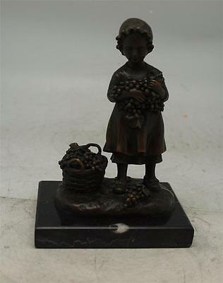 Bronze Sculpture on Marble Base - Girl Collecting Grapes
