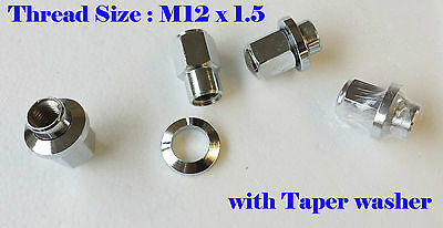 M12X1.5 Thread FORD Fitting WHEEL NUT washer Nickle Chrome x Pack of 4 pc  (M653