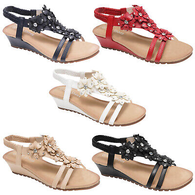 Ladies Womens Sandals Strappy Gladiator Mid Low Wedge Evening Summer Beach Shoes
