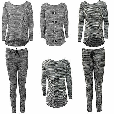 Ladies Women Comfy Pyjama Diamante Bow Back Lounge Wear Set Tracksuit Pair