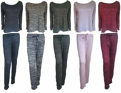New Ladies/Women Comfy Melange Soft Knitted Long Sleeve Lounge Wear Tracksuit