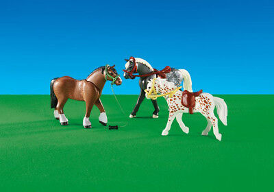 Playmobil Add On #6360 3 Horses -New-Factory Sealed!