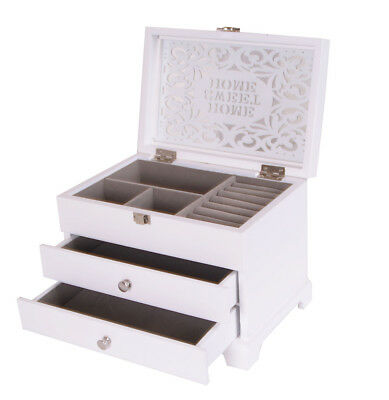 Jewellery Box Wooden Large White Display 2 Drawer Jewelery Case Sweet Home Lid