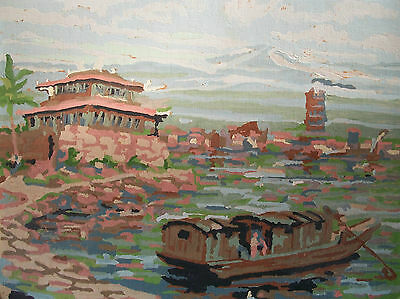 PAINT BY NUMBERS - Vintage Scenic Painting - Oil on Board - Canada - Mid 20th C.