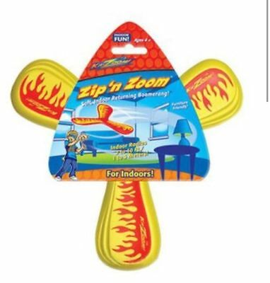Ka-Zoom Zip N Zoom Soft Indoor Children's Boomerang Toy Red Yellow Green Or Blue
