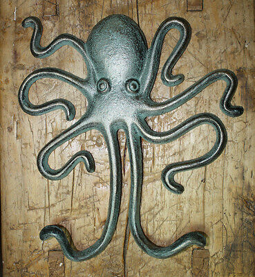 Heavy Cast Iron Octopus Towel Hanger Coat Hooks Hat Hook, Key Rack Nautical HUGE