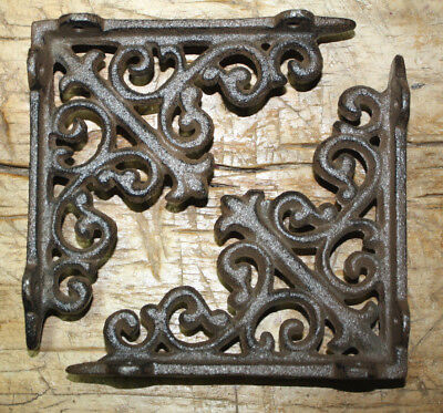 6 Cast Iron Antique Style HD Brackets Garden Braces RUSTIC Shelf Bracket