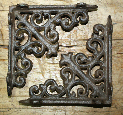 4 Cast Iron Antique Style HD Brackets Garden Braces RUSTIC Shelf Bracket