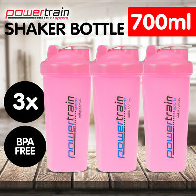 3x PINK GYM PROTEIN SUPPLEMENT DRINK BLENDER MIXER SHAKER SHAKE BOTTLE CUP 700ml