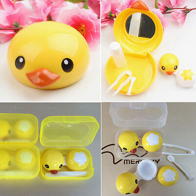 Yellow Duck Eye Care Mini Mirror Case Storage Contact Lens Box Holder Set Kit