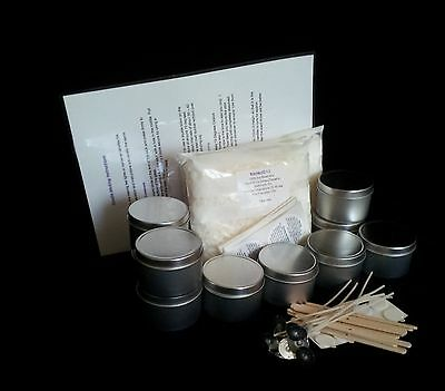 EASY CANDLE MAKING KIT  - Candle Tin-Soy Wax-Wicks & Stickuums