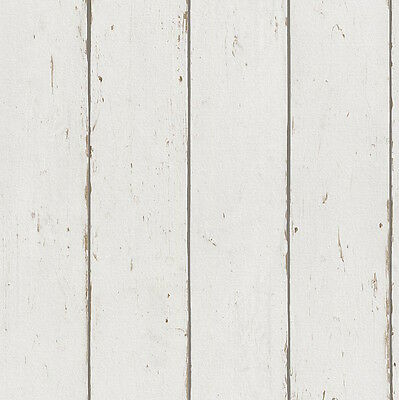 Industrial Chic Off White Textured Timber Panelling Wallpaper - 10M ROLL - NEW!