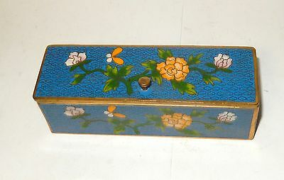Rare Chinese Cloisonne Blue Enamel Floral Butterfly Blossoms Stamp Jar Box