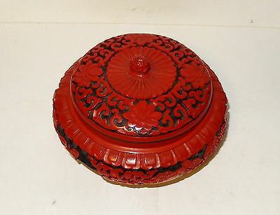 Chinese Floral Carved Cinnabar Lacquer Enamel Bowl Jar Box