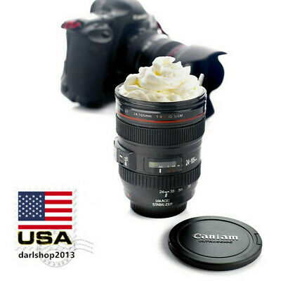 New Camera Lens Cup Mug Creative Coffee Beer Tea with Sealing Lid Black Gift