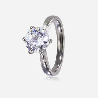 Verlobungsring Moissanit Solitaire 9ct oder 18ct Weiss Gold 2.00cts (8mm)