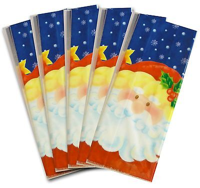 50 x RED CHRISTMAS SANTA CELLOPHANE BAGS Candy Treat Party Gift Sweet Cello Bag