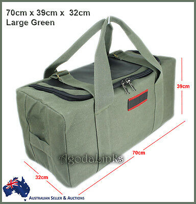 New CANVAS DUFFLE LARGE BAG CARRY BAG Tough Tool Travel Luggage Camping Green-UL
