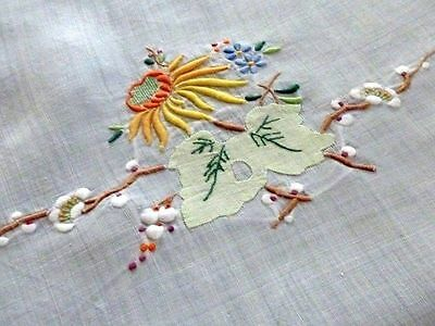 Stunning Vintage  Linen  Applique & Embroidery Hand Crafted Tablecloth