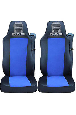 2x DAF XF 105 XF 105 CF LF Seat Covers Tailored HGV Truck Lorry Black/Blue LOGO