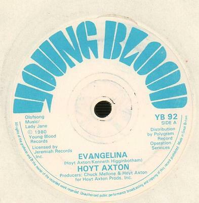 "Hoyt Axton(7"" Vinyl)Evangelina / Hotel Ritz-Young Blood-YB 92-UK-1980-VG/Ex"