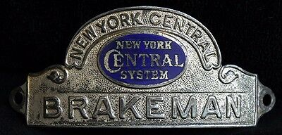 Beautiful 1920's - 30's NY Central System Railroad Brakeman Hat Badge