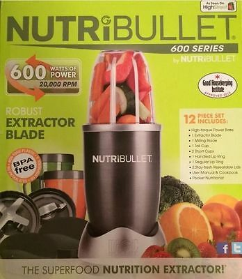 NutriBullet 600 W Grey COMPLETE 12pc SET Nutrition Extractor Blender UK Seller