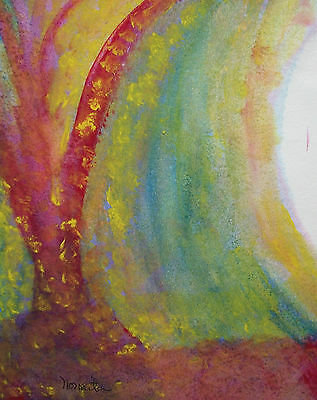 NORMITA - Expressionist Watercolor Painting - Signed - Unframed - 20th Century