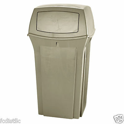 Rubbermaid Commercial Fire-Safe Trash Can 35gal Beige Withstands Extreme Weather