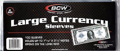 100 Large Dollar Bill    BCW  Currency Sleeves - Holders - Money  - Blanket