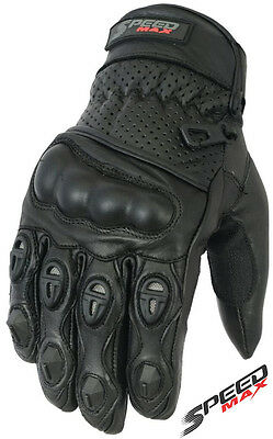 Mens Perforated Carbon Shell Knuckle Vented Motorbike Motorcycle Leather Gloves