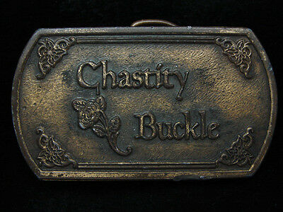 PD13113 VINTAGE 1970s **CHASTITY BUCKLE** NOVELTY FUNNY BRASSTONE BELT BUCKLE