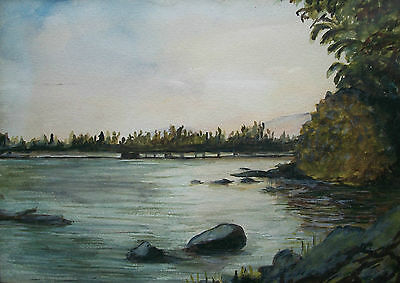 Vintage Watercolor Sketch - Framed - Unsigned - Canada - Mid 20th Century