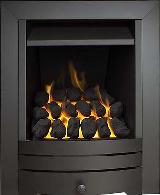 Slimline Inset Gas Fire Black Steel Coal Fireplace Precast Flue Living Flame