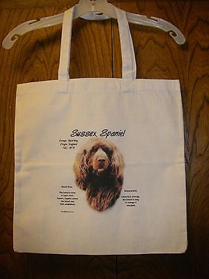 "SUSSEX SPANIEL ""History of the Breed"" Cotton Tote Bag / 15""x15"" / Full color"