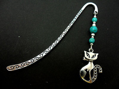 A Tibetan Silver & Turquoise  Bead Cat Themed Bookmark. New.